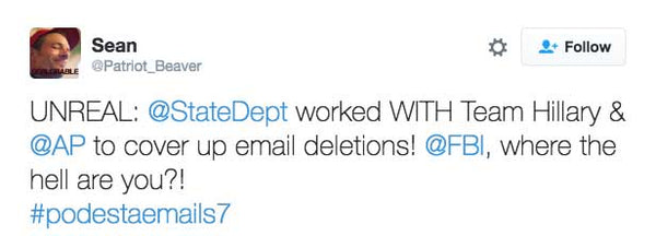 UNREAL: @StateDept worked WITH Team Hillary & @AP to cover up email deletions! @FBI, where the hell are you?!