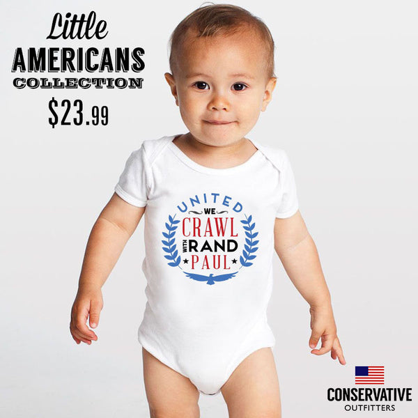 United We Crawl with Rand Paul - Baby Onesie, Infant, Child, Clothes, Clothing, Outfit