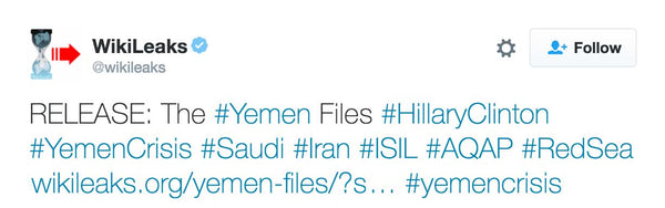 "Today, Friday 25 November, WikiLeaks releases the Yemen Files. .  The Yemen Files are a collection of more than 500 documents from the United States embassy in Sana'a, Yemen. Comprising more than 200 emails and 300 PDFs, the collection details official documents and correspondence pertaining to the Office for Military Cooperation (OMC) located at the US embassy. The collection spans the period from 2009 until just before the war in Yemen broke out in earnest during March 2015. This time period covers both Hillary Clinton's term as Secretary of State (20092013) and the first two years of Secretary John Kerry's tenure.  Julian Assange said: ""The war in Yemen has produced 3.15 million internally displaced persons. Although the United States government has provided most of the bombs and is deeply involved in the conduct of the war itself reportage on the war in English is conspicuously rare.""  Yemen is of significant strategic interest as Yemen controls a narrow choke-point to the Red Sea and the Suez Canal through which 11% of the world's petroleum passes each day. In addition, Yemen borders Saudi Arabia (to the north) and Oman (to the east) and has access to the Arabian Sea, through which another 20% of the world's petroleum passes from the Strait of Hormuz (including the oil of Saudi Arabia and Iran). Saudi Arabia seeks to control a port in Yemen to avoid the potential constriction of its oil shipments by by Iran along the Strait of Hormuz or by countries which can control its other oil shipment path along the Red Sea.  The Yemen Files offer documentary evidence of the US arming, training and funding of Yemeni forces in the years building up to the war. The documents reveal, among other things, procurement of many different weapon types: aircraft, vessels, vehicles, proposals for maritime border security control and Yemeni procurement of US biometric systems.  A US presence remained in the country until February 2015, when the US closed its embassy due to the continuing unrest between different factions in the country. The war broke out a month later."
