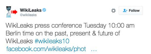 WikiLeaks press conference Tuesday 10:00 am Berlin time on the past, present & future of WikiLeaks #wikileaks10