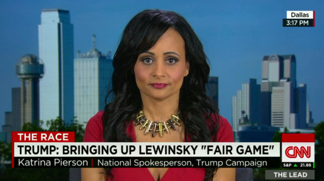 Trump Campaign Spokeswoman wears Bullet Necklace during CNN Interview