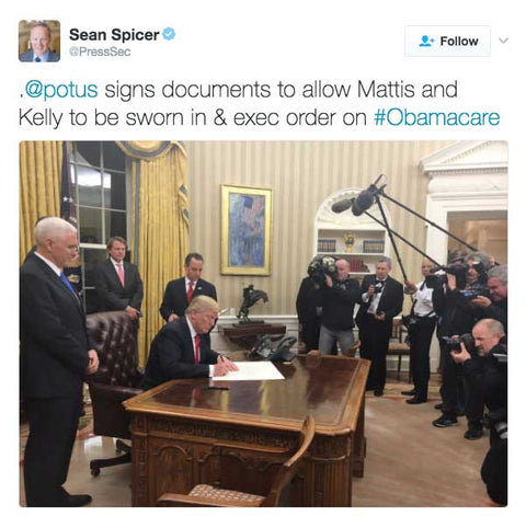 @potus signs documents to allow Mattis and Kelly to be sworn in & exec order on #Obamacare