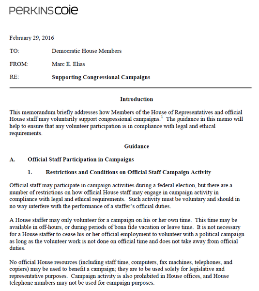 DCCC Memo on Surrogates and Paying for House Volunteer Travel