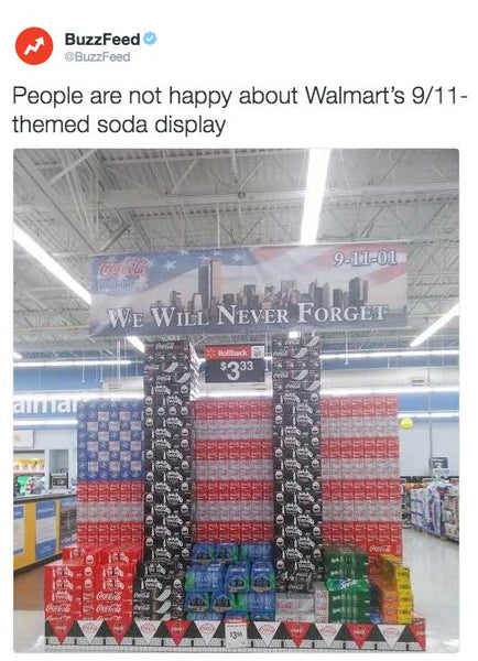 People are not happy about Walmart's 9/11-themed soda display