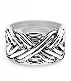 10 Band Sterling Silver Puzzle Ring