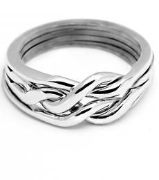 4 Band Heavy Chain Sterling Silver Puzzle Ring