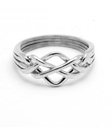 4 Band Open Sterling Silver Puzzle Ring