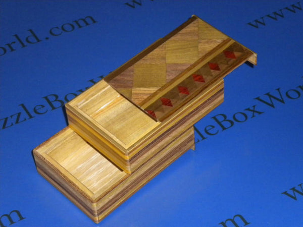 4 Sun 4 Step MUKU Diamond Double Compartment Japanese Puzzle Box
