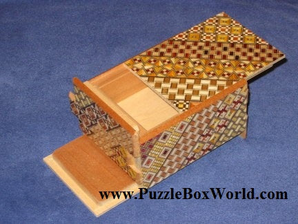 4 Sun 7 + 5 Step DOUBLE COMPARTMENT Yosegi  Japanese Puzzle Box