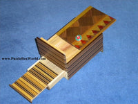 4 Sun 7 Step MUKU Japanese Puzzle Box with Hidden Drawer +Spinning Top Inside!