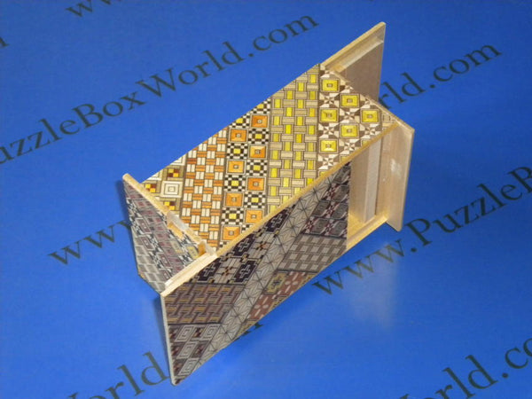 5 Sun 14 Step Yosegi Double Compartment Japanese Puzzle Box