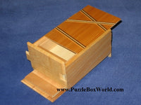 5 Sun 7 Step Limited Edition Double Compartment Natural Wood Japanese Puzzle Box