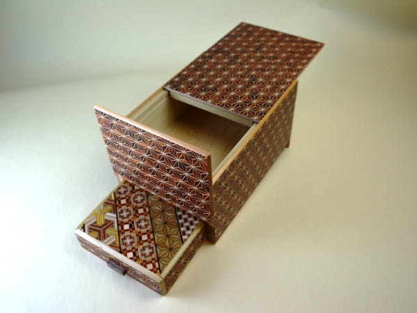 6 Sun 10+1 Step Akaasa Japanese Puzzle Box with SECRET DRAWER!