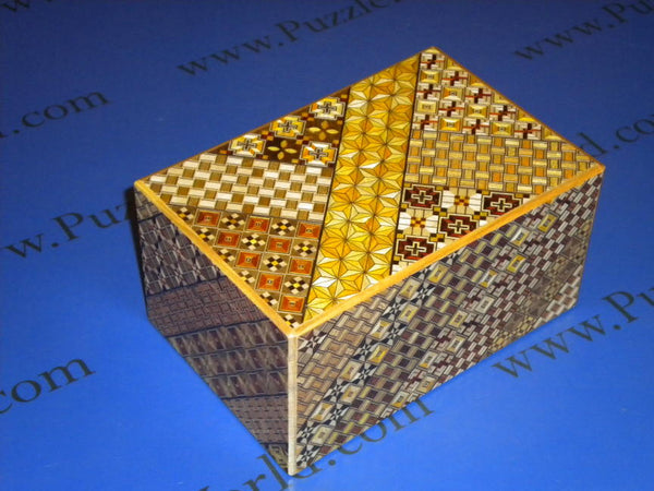 6 Sun 14 Step Double Compartment Yosegi Japanese Puzzle Box