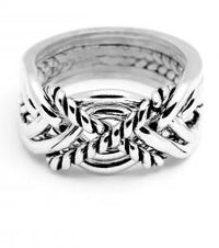 6 Band Twist Heavy Sterling Silver Puzzle Ring