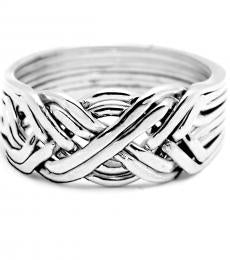 8 Band Heavy Sterling Silver Puzzle Ring