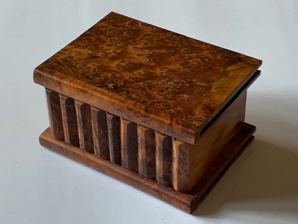 Medium Moroccan Thuya Burl Wood Magic Trick Puzzle Box