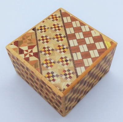 Square 14 Step Yosegi Kuzushi Japanese Puzzle Box