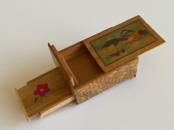Vintage 5 Sun Japanese Secret Puzzle Box with Musical Drawer