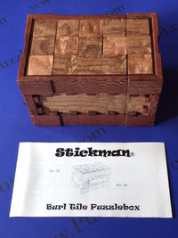 Burl Tile Puzzle Box by Robert Yarger (Stickman Puzzles)