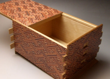 7 Sun 72 +1 Step Red Saya Japanese Puzzle Box By Mr. Yamanaka