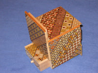 3.5 Sun 10 Step Cube Yosegi Japanese Puzzle Box with Hidden Drawer
