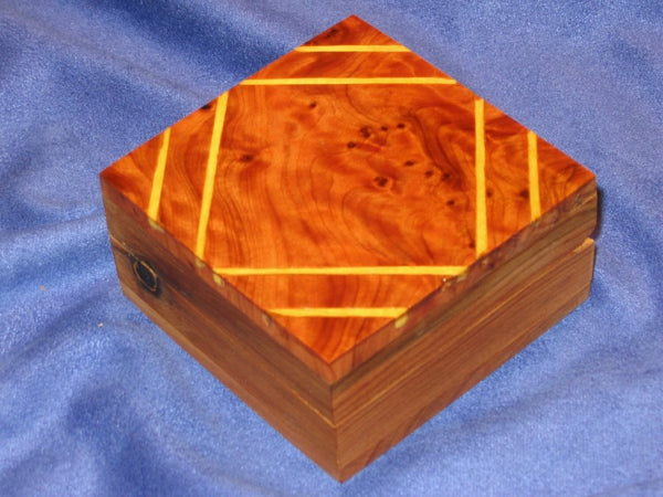 Small Moroccan Thuya Burl Wood Framed Decorative  Box