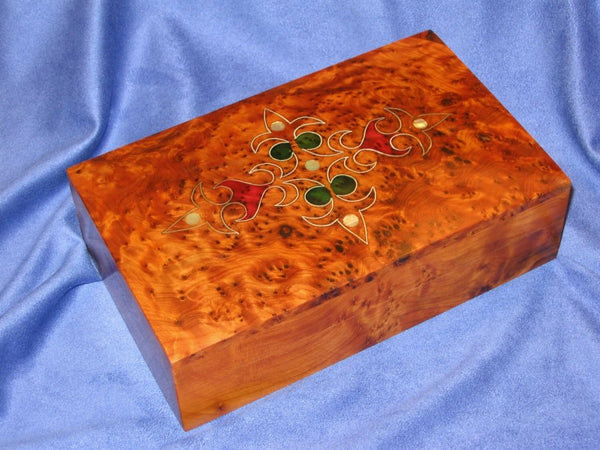 Moroccan Thuya Burl Wood Patterned Decorative Box