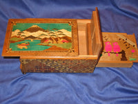 Vintage 6 Sun 9 Step Mt. Fuji Zougan Musical Hidden Drawer Japanese Puzzle Box