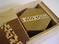 5 Sun 10 Steps Natural Wood & 4 Sun 6 Steps Hexagon Natural Wood Nested  Japanese Puzzle Box