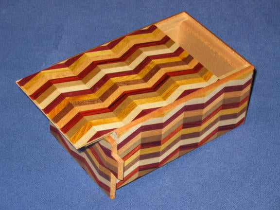 5 Sun 7 Step Notch Stripe Yosegi Japanese Puzzle Box