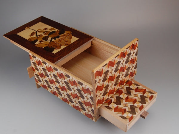 5 Sun 10 Step Strawberry Japanese Puzzle Box with Secret Drawer