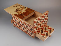 5 Sun 10 Step Bird Japanese Puzzle Box with Secret Drawer