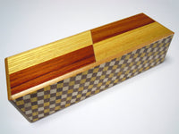 5 Step Right & Left Natural Wood and Ichimatsu Japanese Puzzle Box