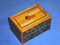 Vintage 5 Sun 27 Step Sansui Zougan Japanese Puzzle Box with Secret Drawer