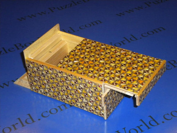 5 Sun 10 Step Kirichigai Japanese Puzzle Box with hidden coin!