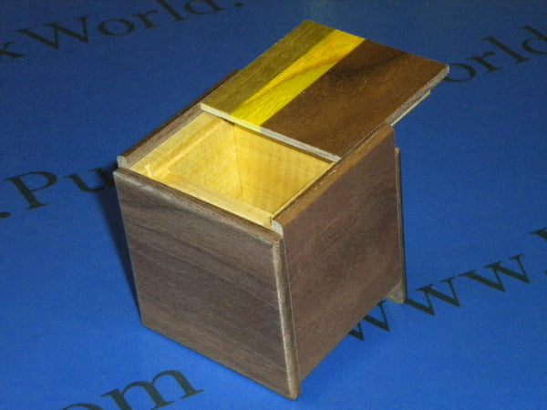 2 Sun 4 Step Natural Wood Cubic Japanese Puzzle Box  By Mr. Oka
