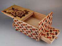5 Sun 10 Step Peony Japanese Puzzle Box with Secret Drawer