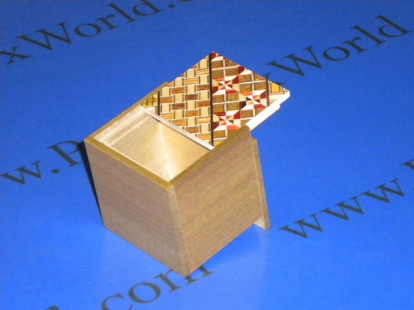 2 Sun 2 Step Yosegi & Natural Wood Cubic Japanese Puzzle Box