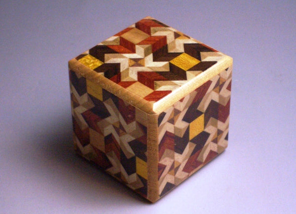 3 Step Karakuri Japanese Puzzle Box Small Cube #1 MY