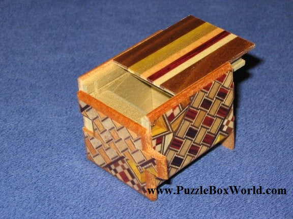 Mame 12 Step Natural Wood and Yosegi Japanese Puzzle Box