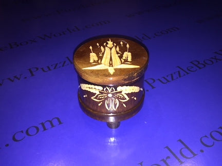 ROUND Romanian Secret Puzzle Box (BR)