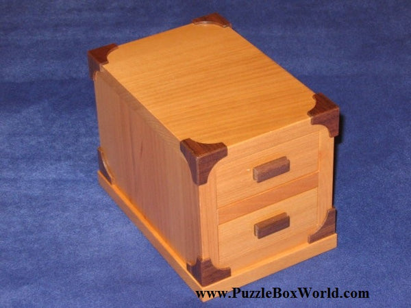 Two Drawers Japanese Puzzle Box by Akio Kamei