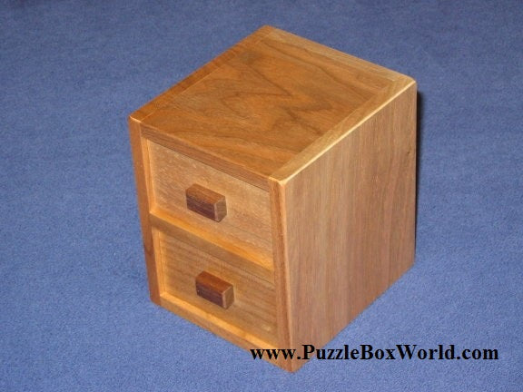 Two Steps of Drawers Japanese Puzzle Box by Hideto Satou