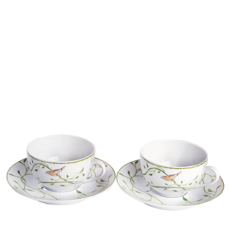 Set of two tea cups and saucers