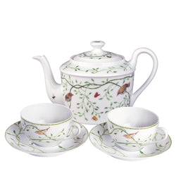 Set of two tea cups, saucers and teapot