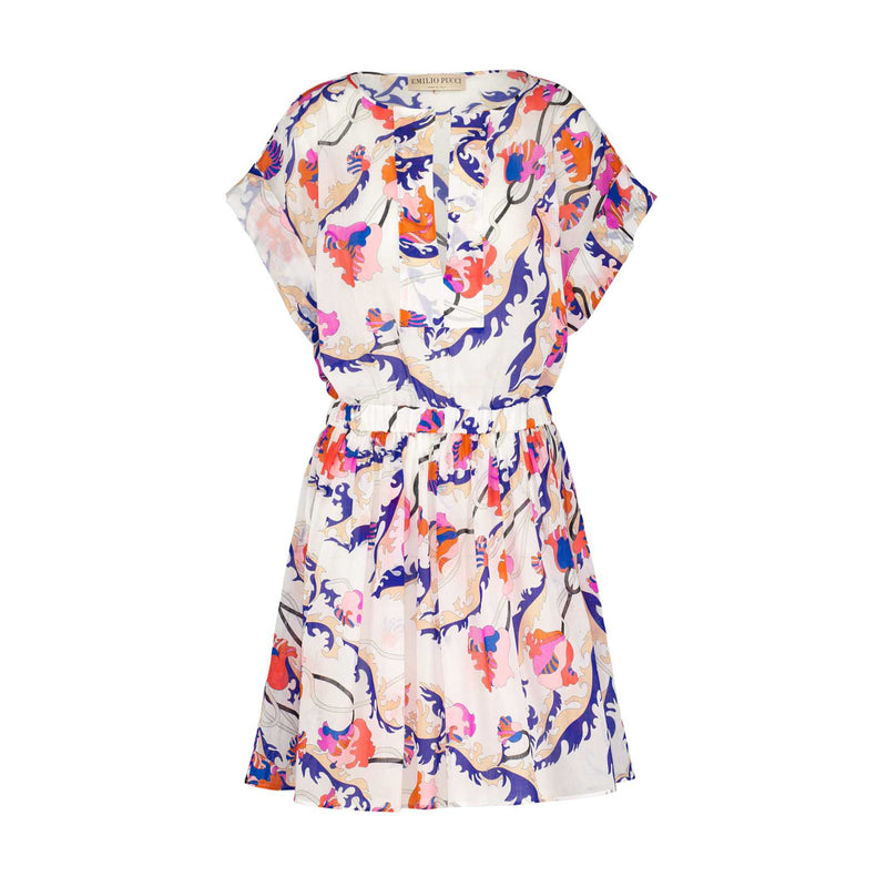 Printed dress - White, pink