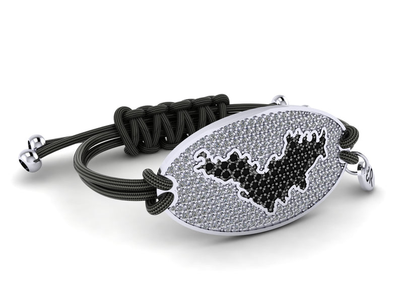 Eden Rock - St Barths bracelet - Black- 14ct white gold, white diamonds, black diamond Island