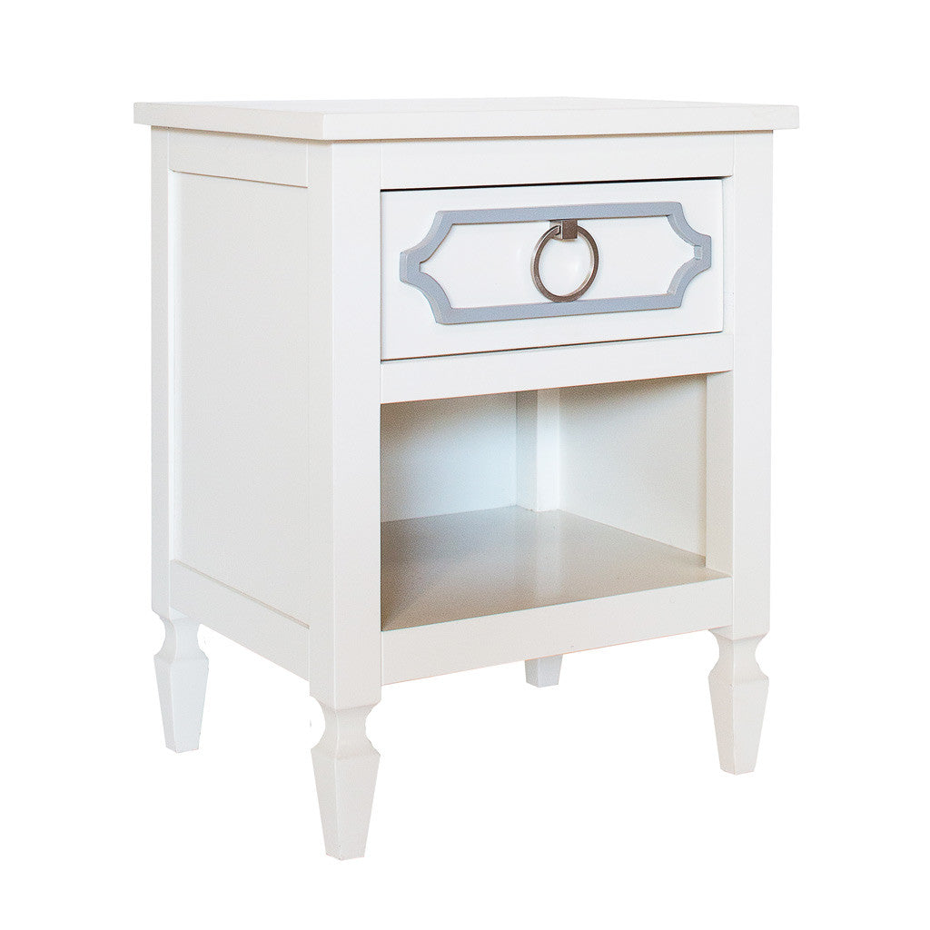 Inspired by Hollywood regency designs, the Beverly Nightstand with Drawer brings a touch of glamour to your nursery or kid's room. This nightstand is benchmade from sturdy hardwood. This nightstand is available in a wide variety of standard color options. An accent color is included with the Beverly Nightstand with Drawer. The accent color applies to the molding. All Newport Cottages products are made in the USA.