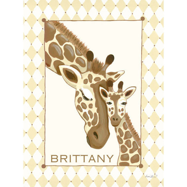 Canvas Wall Art- Giraffe Family (Cream)